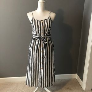 Beachy-Weathered, Black/White Striped Midi Dress